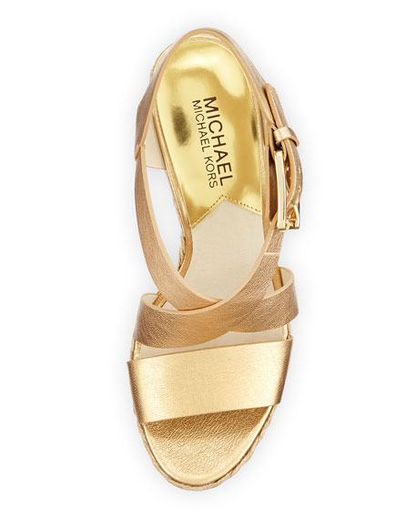 Giovanna Leather Espadrille Wedge, Pale Gold