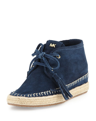 Kendrick Suede Lace-Up Wedge, Navy