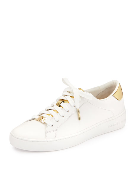 Michael Michael Kors Irving Leather Lace-Up Sneaker, Optic White Pale Gold b8ee3b8646b3
