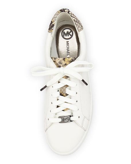 018e94b1cc8 MICHAEL Michael Kors Irving Leather Lace-Up Sneaker, Optic White/Gray