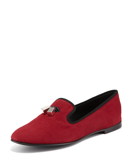 Metallic Tassel Suede Loafer, Dark Red