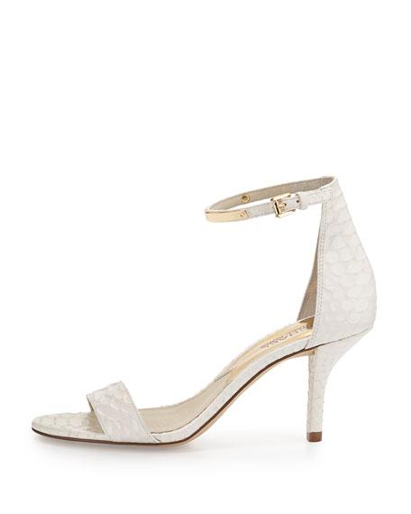 Kristen Mid-Heel Snake-Embossed Sandal, Optic White