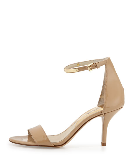 MICHAEL Michael Kors Kristen Mid-Heel Patent Sandal Nude