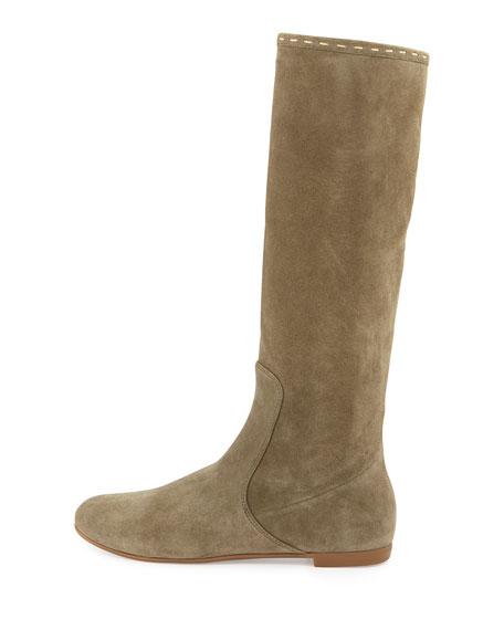 Flat Suede Tall Boot, Light Green
