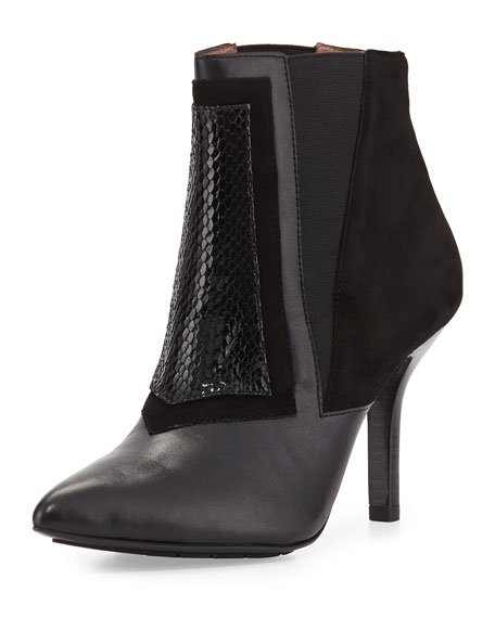 Hamo Suede/Leather/Watersnake Bootie, Black