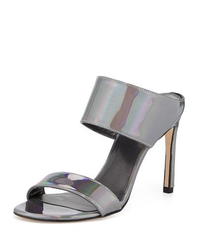 MySlide Metallic Specchio Sandal, Pewter