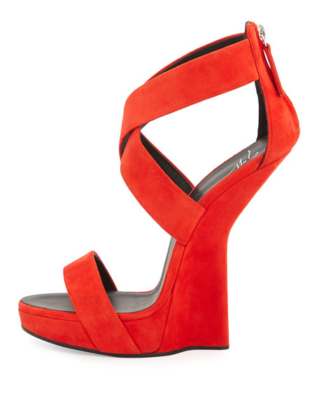 Sculpted Wedge Crisscross Sandal, Red