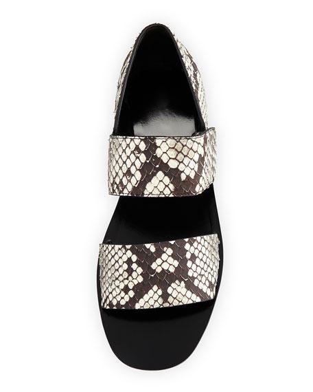 Salina Python-Print Sandal, Black/White
