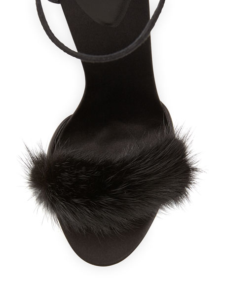 High-Heel Ankle-Strap Sandal with Fur Detail