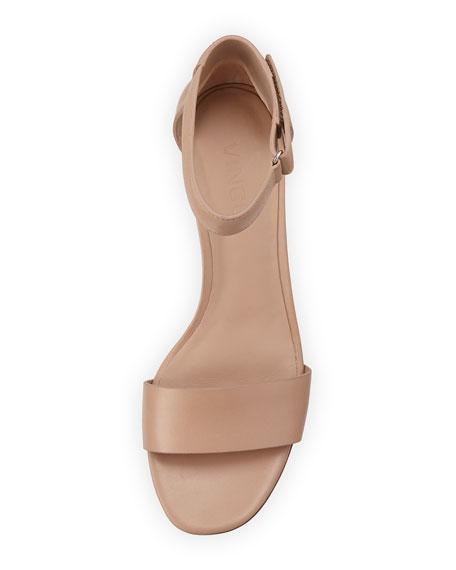 Rita Leather Block-Heel Sandal, Nude