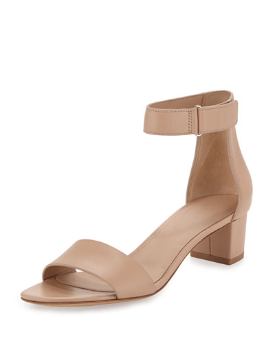 Vince Rita Leather Block Heel Sandal Nude