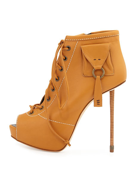 Peep-Toe Lace-Up Heel Bootie, Brown