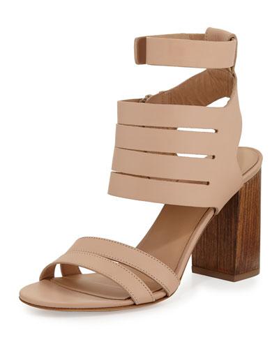 Freida Leather Multi-Strap Sandal, Nude