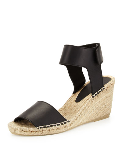 Sophie Leather Espadrille Wedge, Black