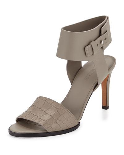 Antonia Mid-Heel Leather Sandal, Pewter