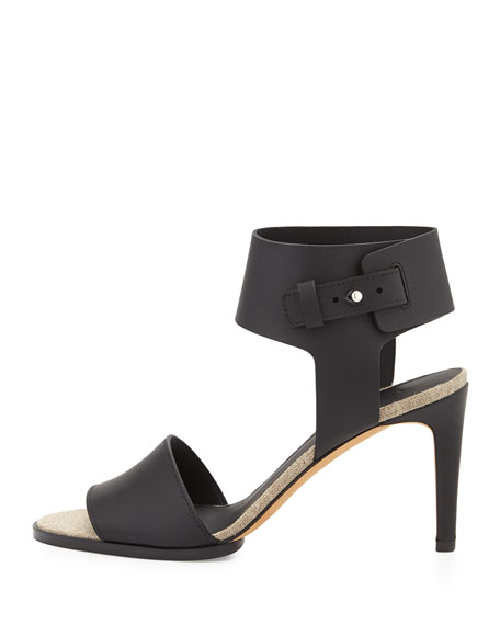 Antonia Mid-Heel Leather Sandal, Black