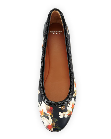 Ninni Magnolia-Print Ballet Flat, Black Pattern