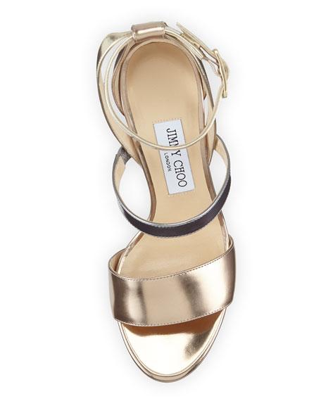 Dose Metallic Leather Sandal, Beige