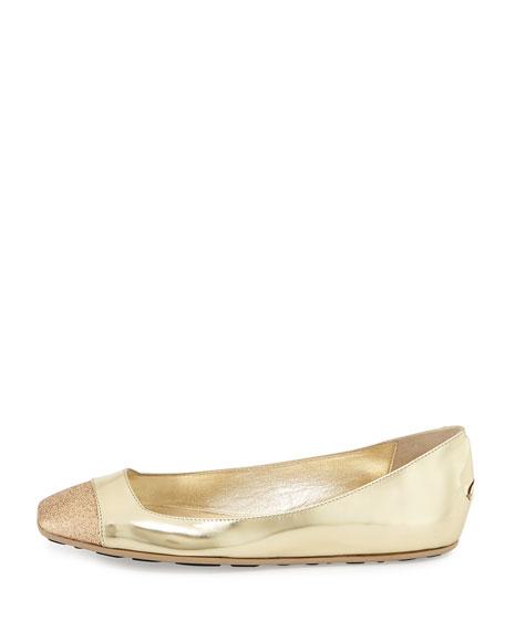 Gavot Metallic Leather Ballerina Flat, Gold