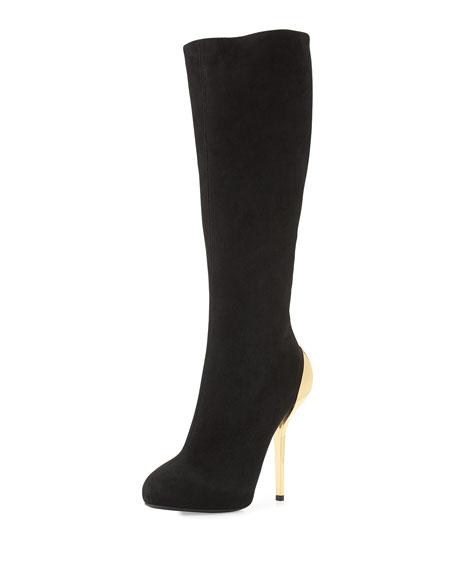 Suede Metallic-Heel Knee Boot, Black