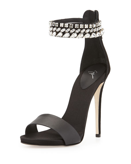 Crystal-Embellished Strap Sandal, Black