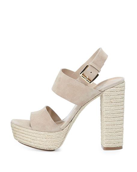 Summer Suede Platform Sandal, Nude
