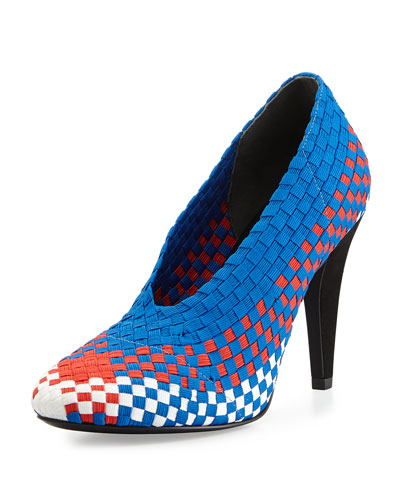 Carla Woven Runway Sport Pump, Blue/Red