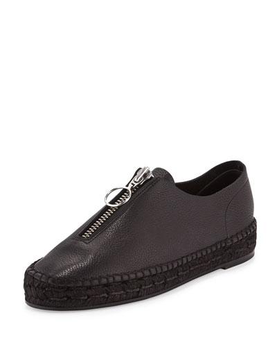 Devon Leather Platform Espadrille, Black