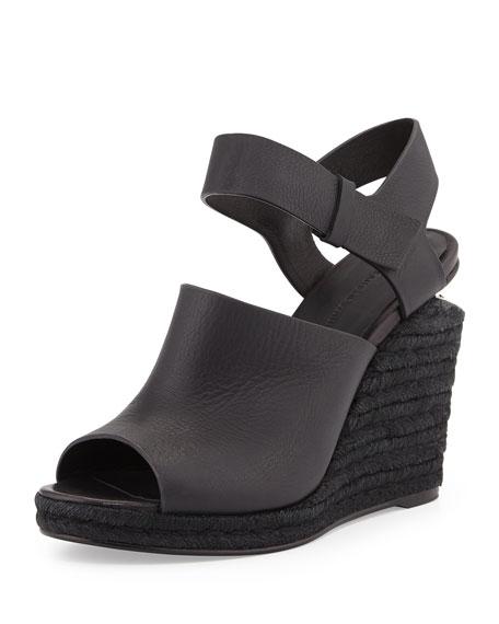 Tori Leather Espadrille Wedge, Black