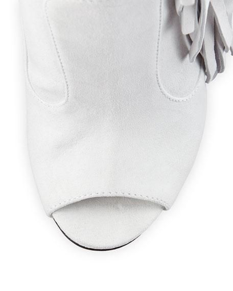 Suede Peep-Toe Fringe Boot, White