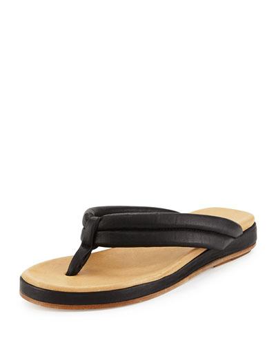 Aya Leather Thong Sandal, Black