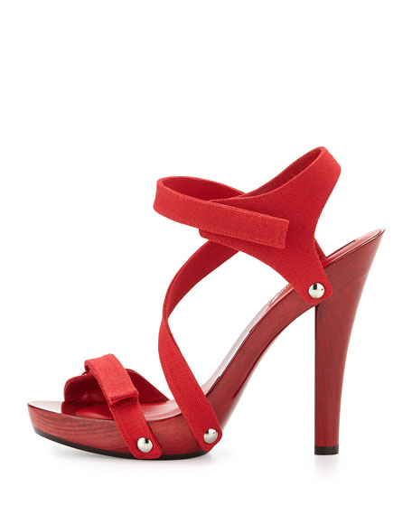 Arenas Wood Canvas Sandal, Red