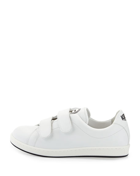Leather Low-Top Sneaker, White (Blanc)