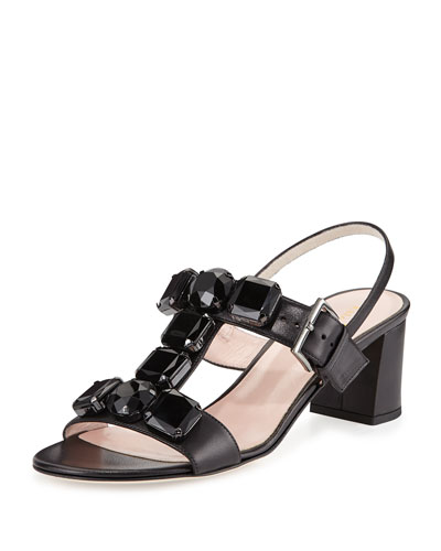 marista jeweled leather city sandal, black