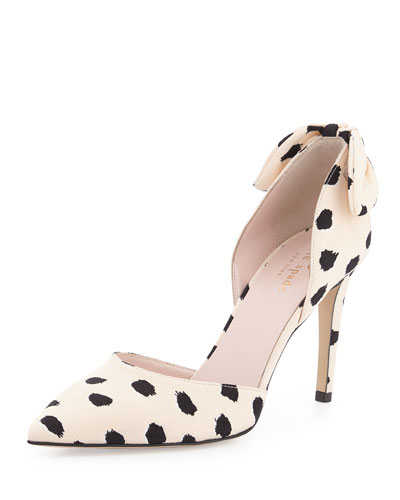 peggy spotted crepe d'orsay pump, shell/black