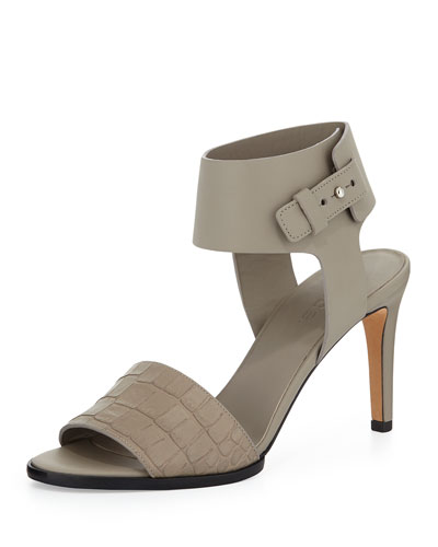 Antonia Mid-Heel Leather Sandal, Woodsmoke