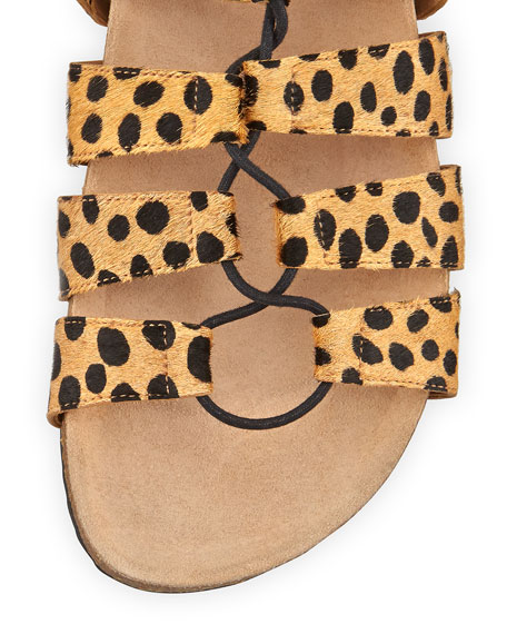Pascal Animal-Print Lace-Up Sandal, Cheetah