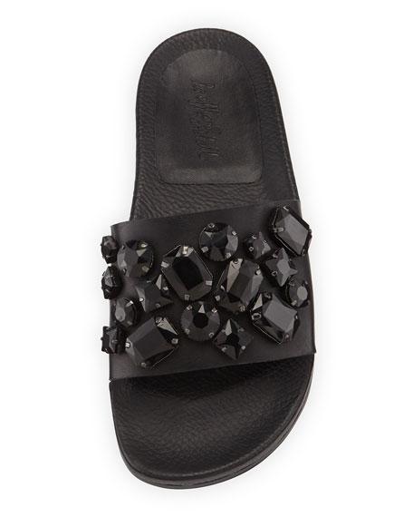 Cat Jewel-Embellished Sandal, Black
