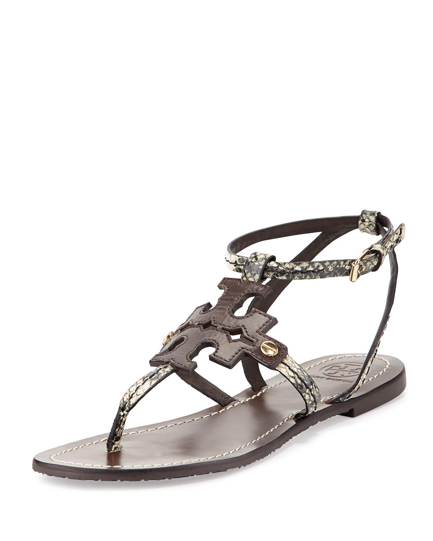 7e989c131 Tory Burch Phoebe Snake-Embossed Flat Sandal