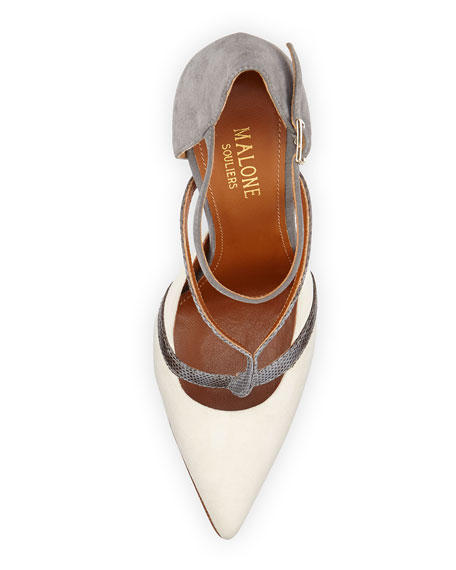 Veronica Suede Ankle-Strap Pump, Ivory/Gray