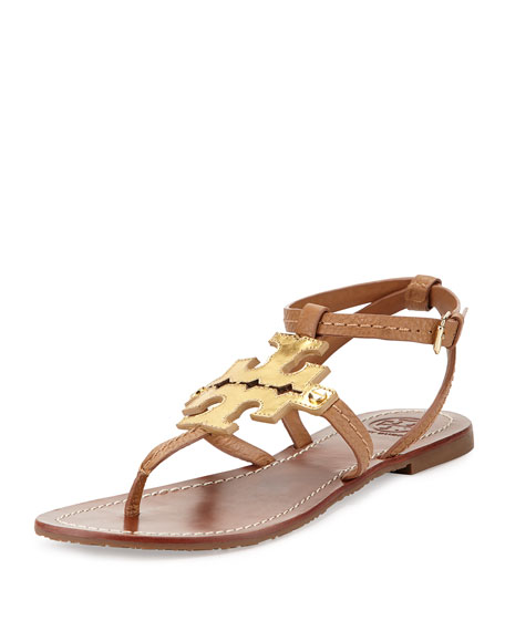 Tory Burch Phoebe Leather Flat Sandal Tan Gold Neiman