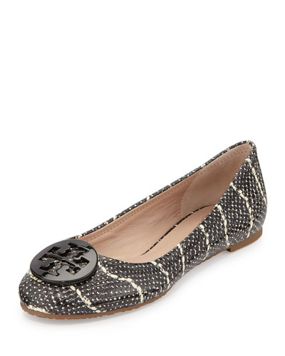 Reva Snake-Embossed Leather Flat, Black/Ivory
