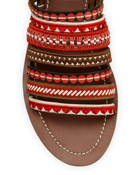 Embroidered Leather Sandal, Poppy Red Multi