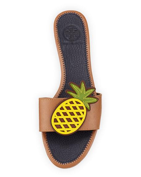 Pineapple Leather Flat Sandal, Royal Tan