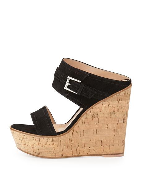 Suede Ankle-Wrap Wedge Slide, Black