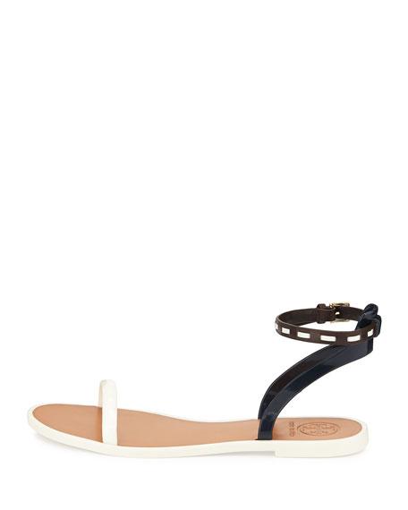 Ankle-Strap Jelly Sandal, Ivory/Tory Navy