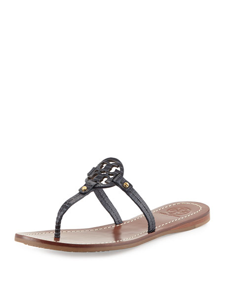 93393c6f4b4 Tory Burch Mini Miller Lizard-Embossed Flat Sandal