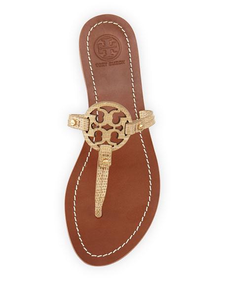 060b043737f Tory Burch Mini Miller Snake-Embossed Flat Sandal