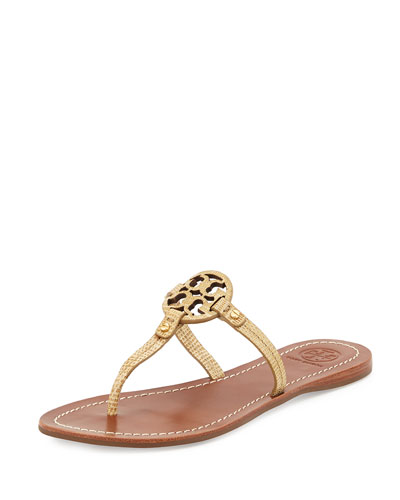 Mini Miller Snake-Embossed Flat Sandal, Trench Tan