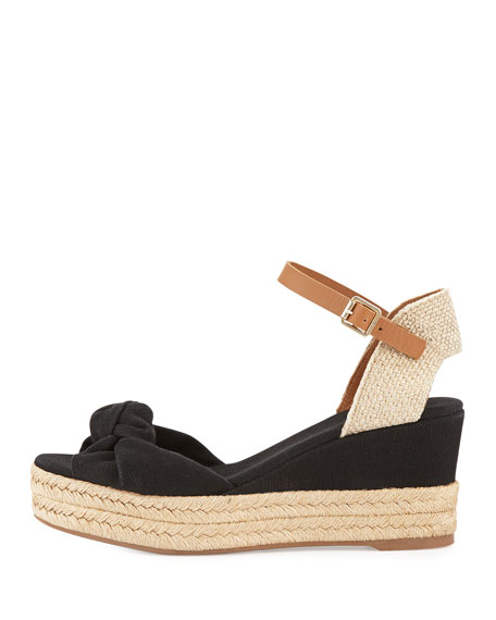 c3063262e ... official tory burch knotted bow wedge sandal black royal tan neiman  marcus 7e4a2 662d8